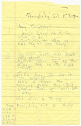 """Handwritten lyrics for """"Everybody's Got a Thing"""" by James Brown"""