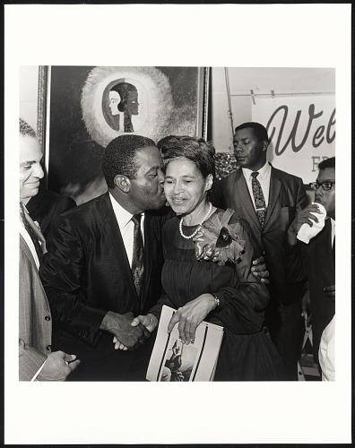 Image for Rev Ralph Abernathy embracing Rosa Parks, Benjamin Hooks on left, SCLC Convention, Memphis, TN