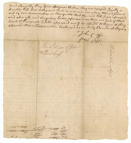 Image for Petition signed by John Cuffe and Paul Cuffe regarding taxation