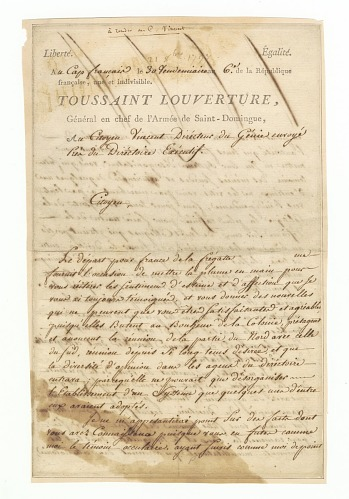 Image for Letter to Charles Humbert Marie Vincent signed by Toussaint Louverture