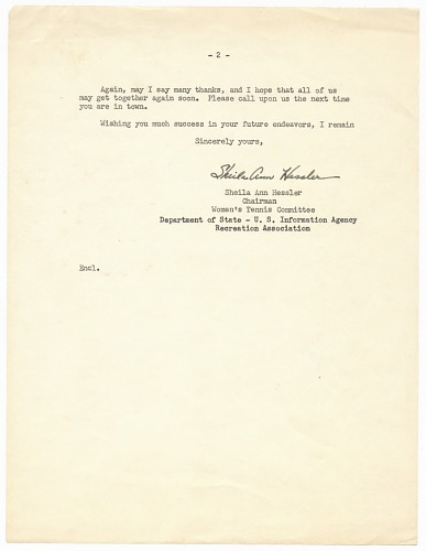 Image for Letter to Althea Gibson from Sheila Ann Hessler