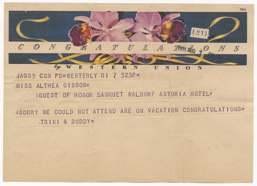 Image for Telegram to Althea Gibson from Trini and Buddy