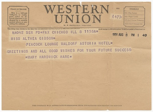Image for Congratulatory telegram to Althea Gibson from Mary Hardwick Hare