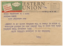 Telegram to Althea Gibson from Ray Robinson