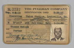 Identification card issued to Pullman porter Thomas McCord