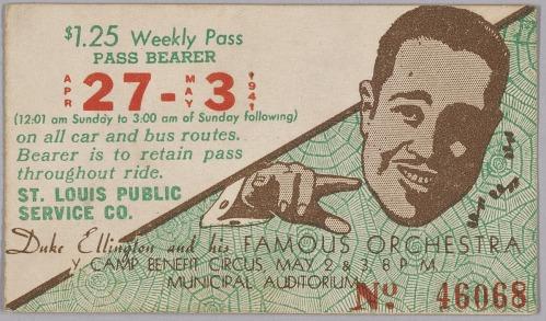 Image for Transit pass for St. Louis Public Service Company depicting Duke Ellington