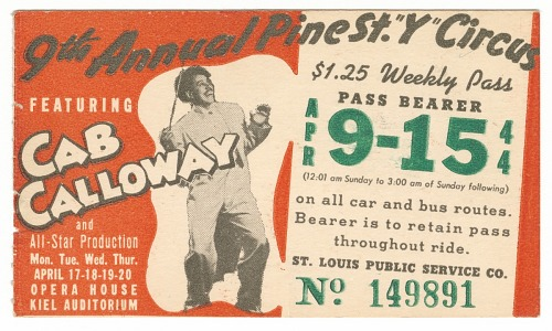 Image for Transit pass for St. Louis Public Service Company depicting Cab Calloway