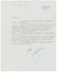 """Letter to Margaret Martin Wallace (""""Meg"""") from Josephine Baker"""