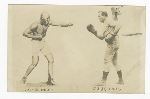 Image for Photographic postcard with photos of Jack Johnson and James J. Jeffries