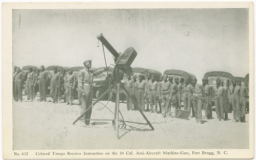 Image for No. 432 Colored Troops Receive Training on the 50 Cal. Anti-Aircraft Machine-Gun, Fort Bragg, N. C.