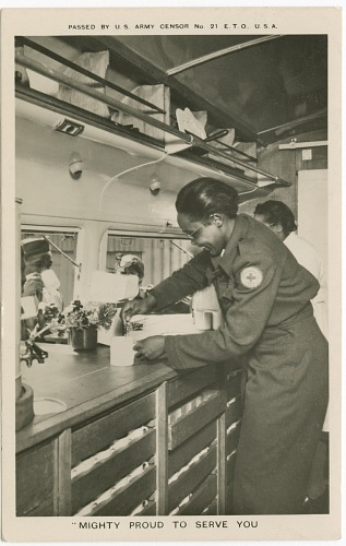 "Image for Picture postcard of a volunteer serving troops out of a Red Cross ""Clubmobile"