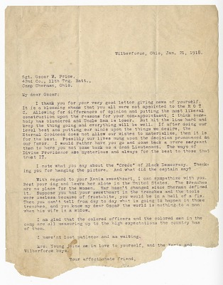 Letter to Oscar W. Price from Colonel Charles Young