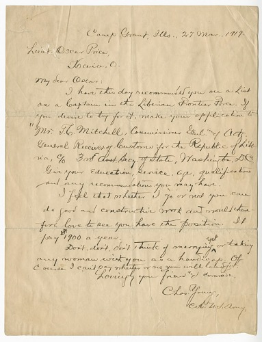 Image for Letter to Oscar W. Price from Colonel Charles Young