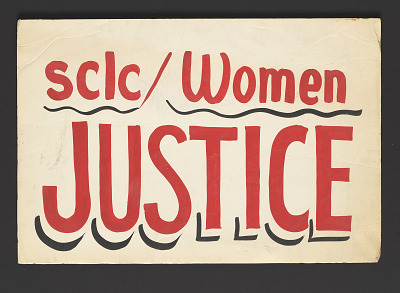 Poster supporting women and justice made by SCLC