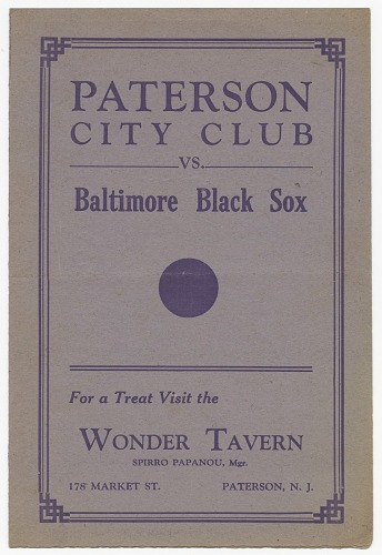Image for Paterson City Club vs. Baltimore Black Sox