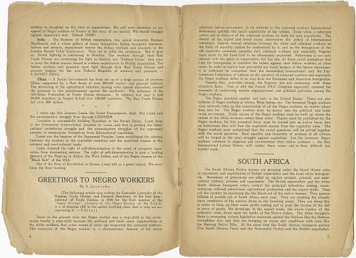 Image for The International Negro Workers' Review Vol. 1 No. 1