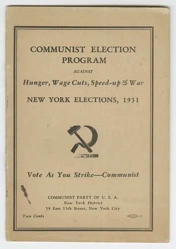 Image for Communist Election Program Against Hunger, Wage Cuts, Speed-up & War