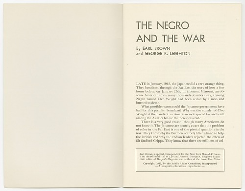 Image for Public Affairs Pamphlets No. 71: The Negro and the War