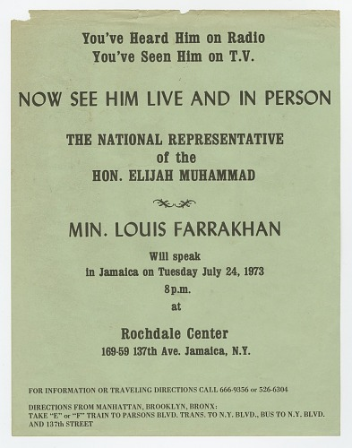 Image for Flier for a speaking event by Minister Farrakhan