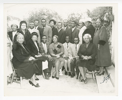 Photograph of Frances Albrier with Congolese teachers