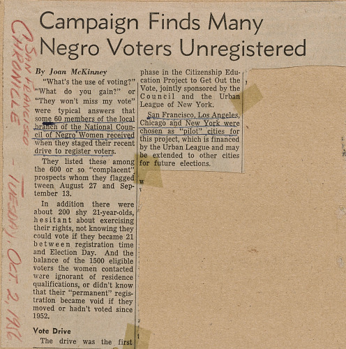 Image for Campaign Finds Many Negro Voters Unregistered