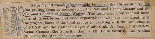 Image for Newspaper clipping describing the participants in the NCNW motorcade