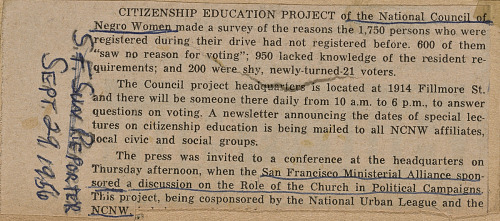 Image for News clipping describing reasons why new voters had not previously registered