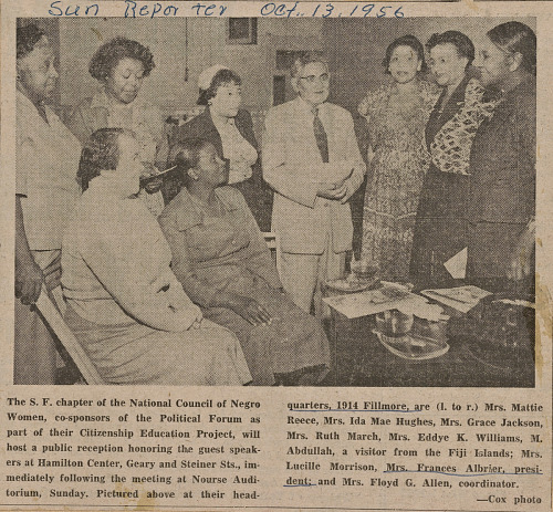 Image for Newspaper clipping of a photograph of women at the NCNW chapter headquarters