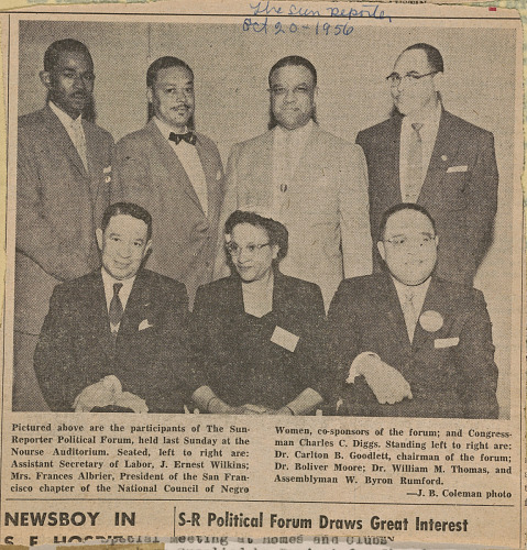 Image for Newspaper clipping of a photograph of participants in the NCNW Political Forum