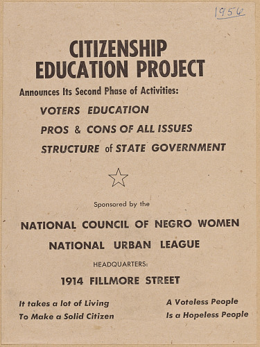 Image for Flyer promoting the second phase of the NCNW's Citizenship Education Project