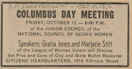 Image for Newspaper clipping announcing a NCNW Junior Council Columbus Day meeting
