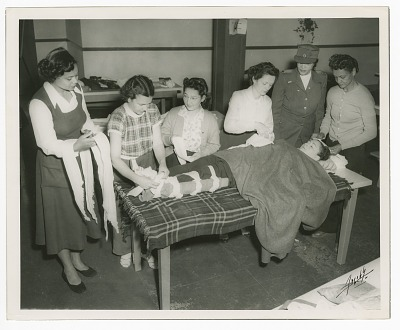 Photograph of Frances Albrier instructing a first aid class
