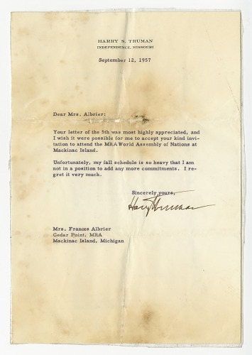 Image for Letter to Frances Albrier from Harry S. Truman with envelope