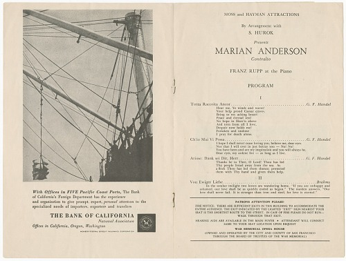 Image for Program for a Marian Anderson concert at the War Memorial Opera House