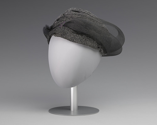 Image for Black and silver turban style hat from Mae's Millinery Shop
