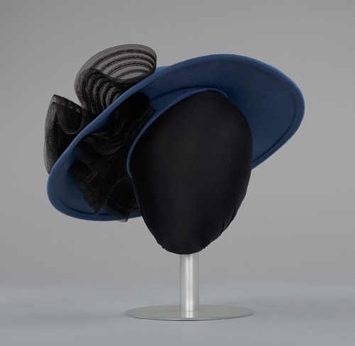Image for Navy portrait hat by Mr. John from Mae's Millinery Shop
