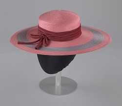 Pink and purple cartwheel hat from Mae's Millinery Shop