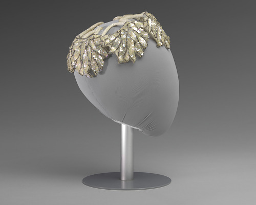 Image for Ivory and silver sequin and beaded cap from Mae's Millinery Shop