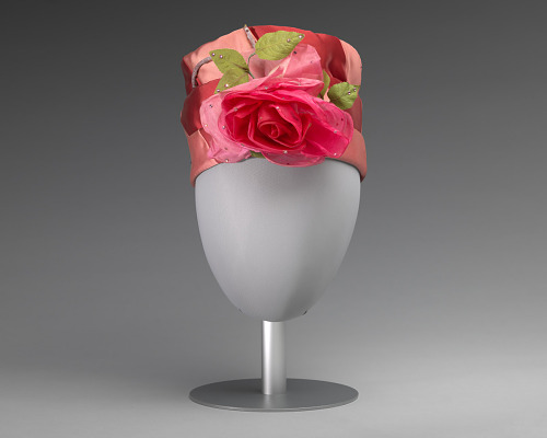 Image for Pink and red hat with pink rose decoration from Mae's Millinery Shop