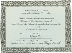 North Sixtieth Street Association membership certificate issued to Mae Reeves