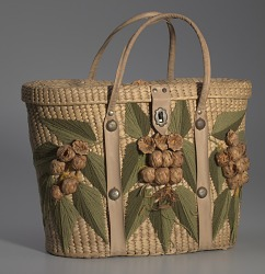 Woven basket purse with floral design from Mae's Millinery Shop