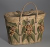 Thumbnail for Woven basket purse with floral design from Mae's Millinery Shop