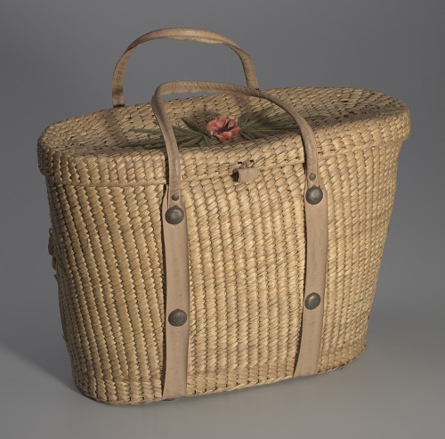 Image for Woven basket purse with floral design from Mae's Millinery Shop