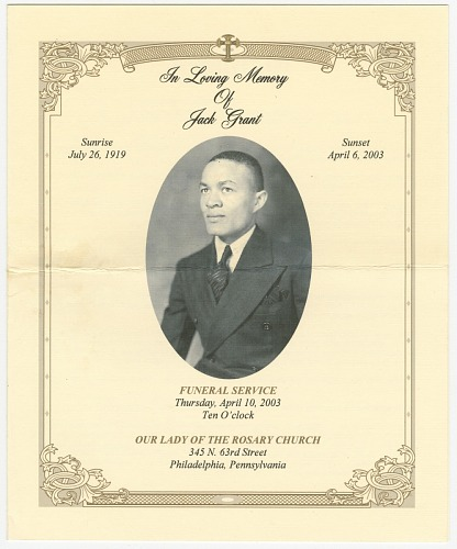 Image for Four programs for the funeral of Jack Grant from Mae's Millinery Shop