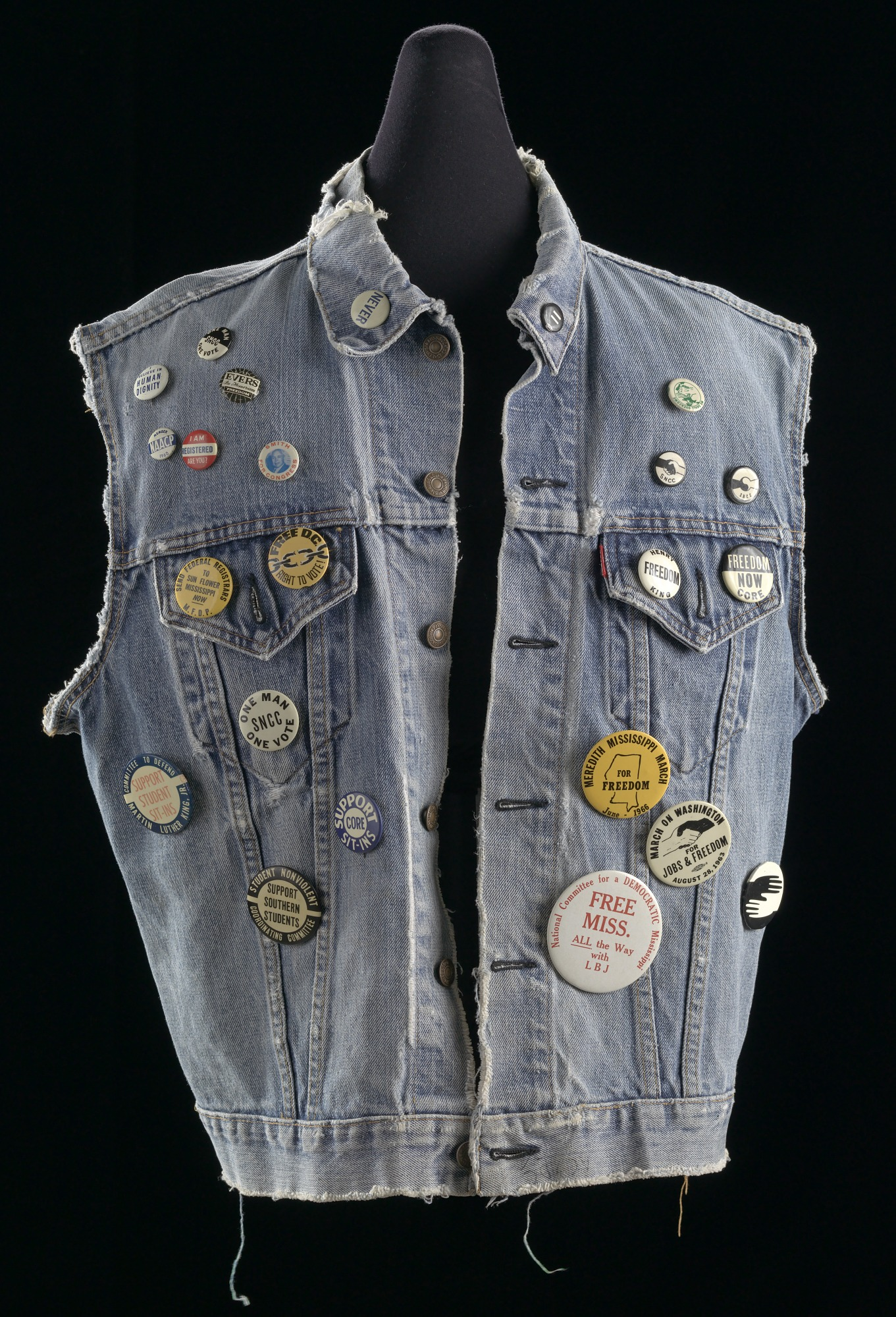 images for Commemorative denim vest with buttons assembled by Joan Trumpauer Mulholland