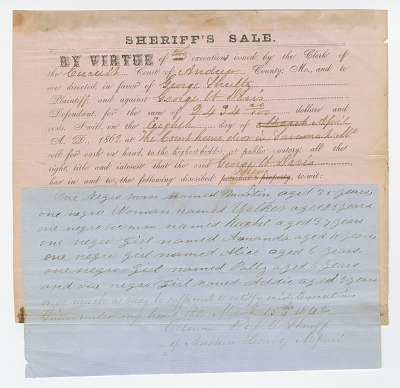 Notice of an impending sheriff's sale of 7 enslaved persons