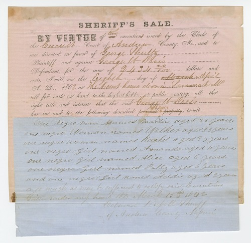 Image for Notice of an impending sheriff's sale of 7 enslaved persons