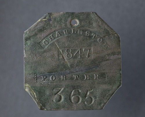 Image for Charleston slave badge from 1847 for Porter No. 365