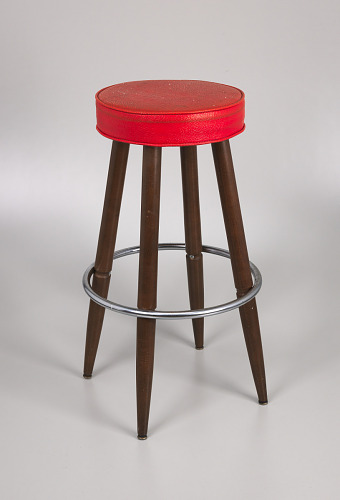 Image for Barstool with red vinyl cover from Muse Bar, the home bar of Isaiah Muse