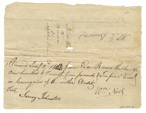 Image for Letter and payment receipt for hire of enslaved persons owned by Apphia Rouzee